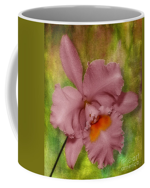 Leaves Florist Coffee Mug featuring the photograph Pink Orchid by Susan Candelario