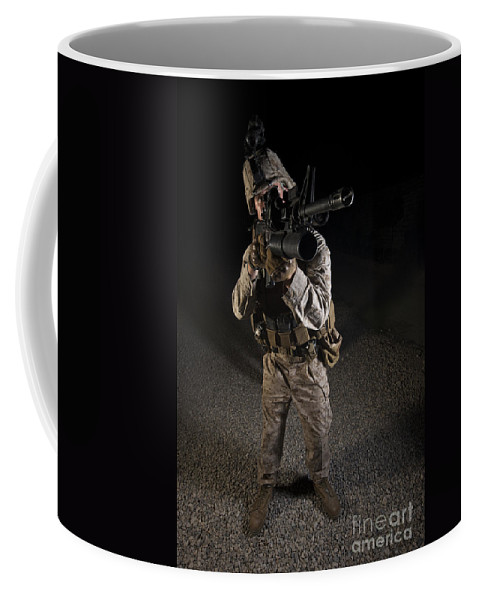 Night Coffee Mug featuring the photograph Portrait Of A U.s. Marine In Northern by Terry Moore