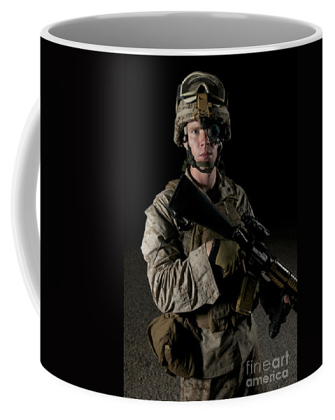Operation Enduring Freedom Coffee Mug featuring the photograph Portrait Of A U.s. Marine Wearing Night by Terry Moore