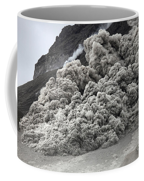 Ominous Coffee Mug featuring the photograph Pyroclastic Flow Descending The Flank by Richard Roscoe
