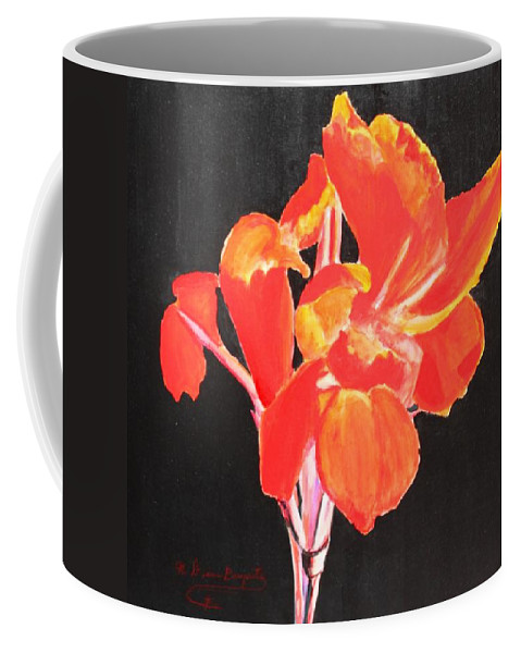 Garden Coffee Mug featuring the painting Red Canna by M Diane Bonaparte