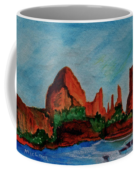Sedona Coffee Mug featuring the painting Red Rocks by Michael Brennan