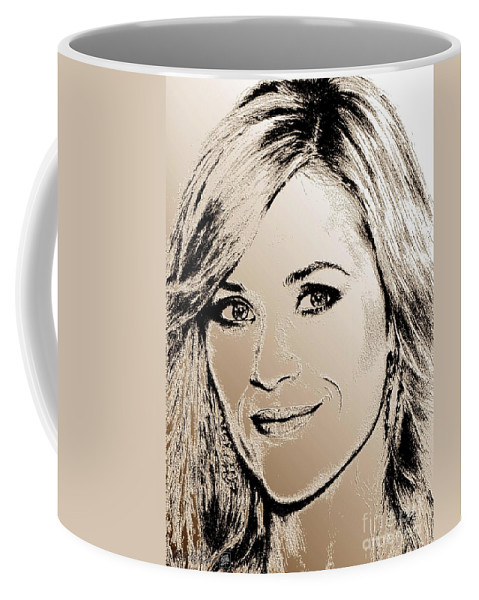 Reese Witherspoon Coffee Mug featuring the digital art Reese Witherspoon In 2010 by J McCombie