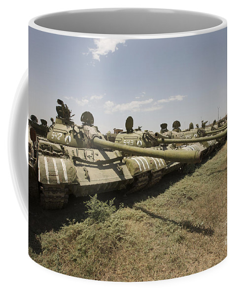 Turret Coffee Mug featuring the photograph Russian T-54 And T-55 Main Battle Tanks by Terry Moore