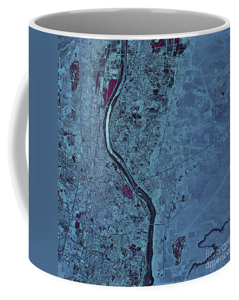 Color Image Coffee Mug featuring the photograph Satellite View Of Albuquerque, New by Stocktrek Images