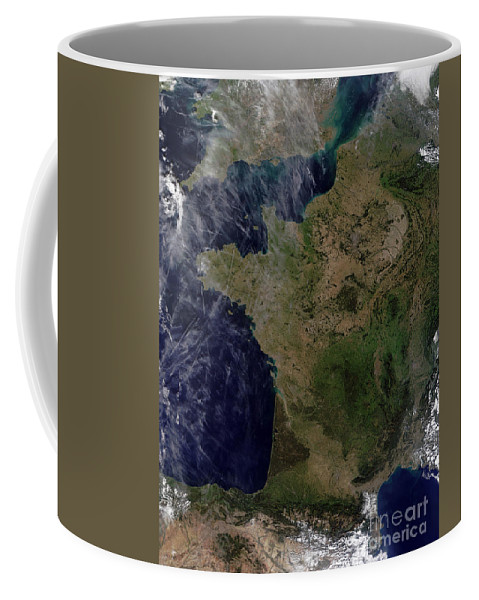 Color Image Coffee Mug featuring the photograph Satellite View Of France by Stocktrek Images