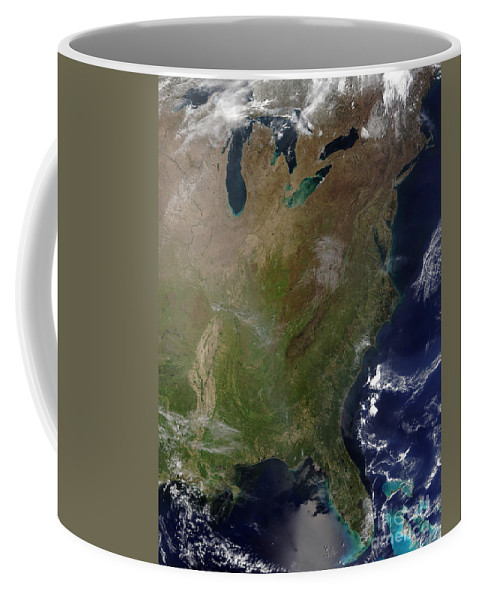 Color Image Coffee Mug featuring the photograph Satellite View Of The United States by Stocktrek Images