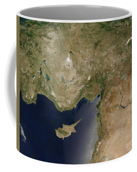 Asia Minor Coffee Mug featuring the photograph Satellite View Of Turkey And The Island by Stocktrek Images