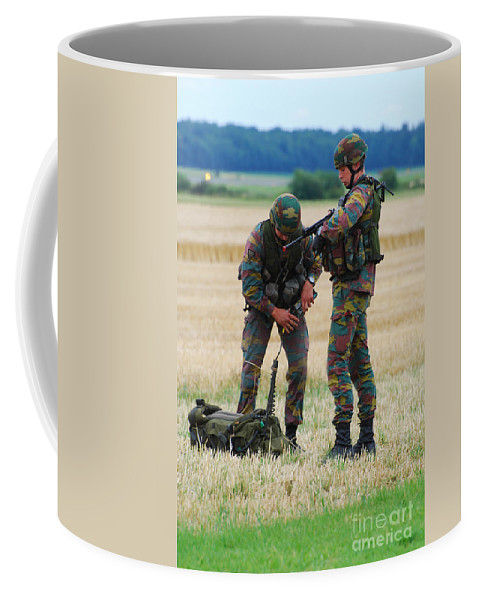 Armed Forces Coffee Mug featuring the photograph Soldiers Of The Belgian Army by Luc De Jaeger