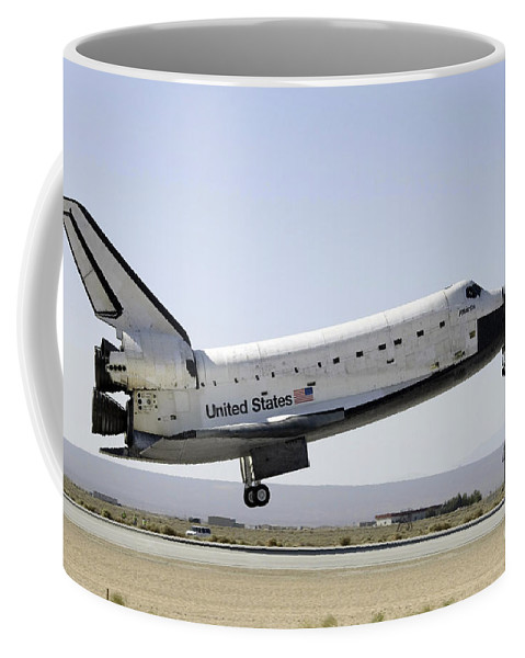 Edwards Air Force Base Coffee Mug featuring the photograph Space Shuttle Atlantis Prepares by Stocktrek Images