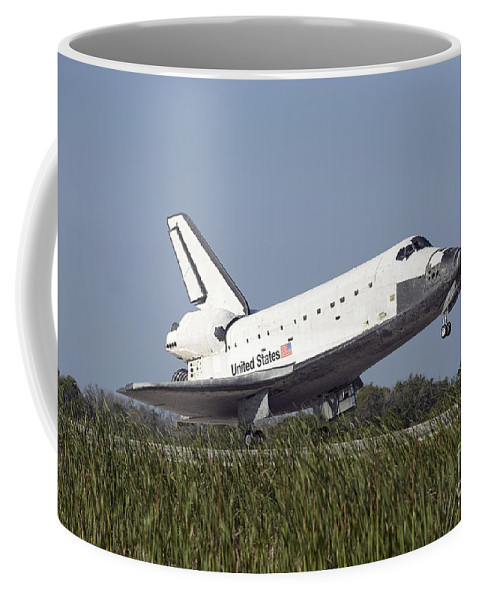 Florida Coffee Mug featuring the photograph Space Shuttle Atlantis Touches by Stocktrek Images
