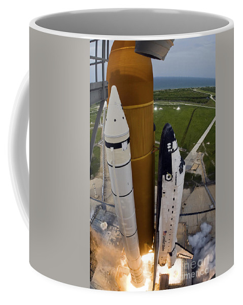 Florida Coffee Mug featuring the photograph Space Shuttle Endeavour Lifts by Stocktrek Images