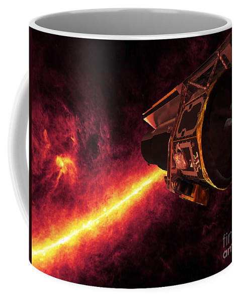 Color Image Coffee Mug featuring the digital art Spitzer Seen Against The Infrared Sky by Stocktrek Images