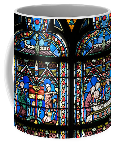 Paris Coffee Mug featuring the photograph Stained Glass Window Of Notre Dame De Paris. France by Bernard Jaubert