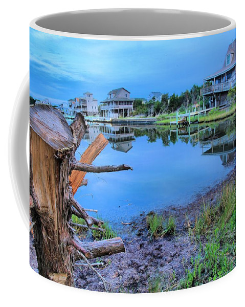 North Carolina Outer Banks Coffee Mug featuring the photograph Sunset On The Sound by Adam Jewell