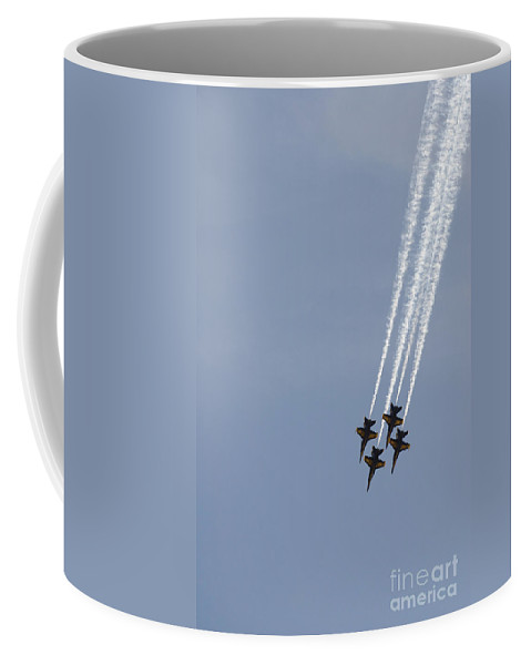 Aerial Coffee Mug featuring the photograph The Blue Angels Perform Aerial by Stocktrek Images