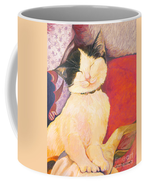 Cat Coffee Mug featuring the painting The Perfect Nap by Lisa Hershman