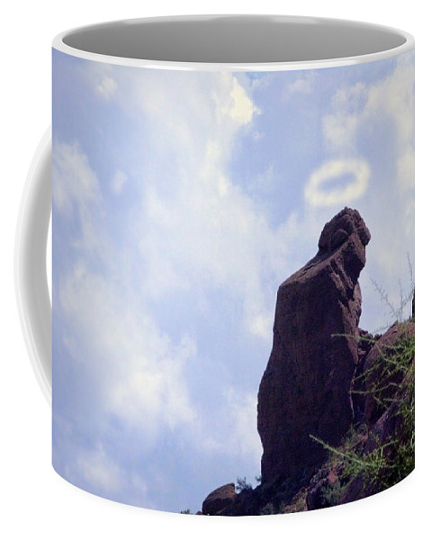 'praying Monk' Coffee Mug featuring the photograph The Praying Monk With Halo - Camelback Mountain by James BO Insogna