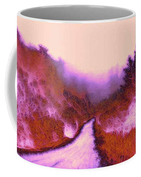 Red Weed Forest Abstract Wood Tree Bush Fog Mist Mystery Mystic Color Colorful Coffee Mug featuring the painting The Red Weed by Steve K