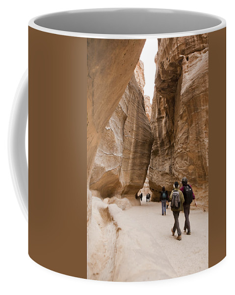Petra Coffee Mug featuring the photograph The Slot Canyons Leading Into Petra by Taylor S. Kennedy