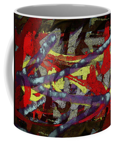 Abstract Coffee Mug featuring the digital art The Writing On The Wall 1 by Tim Allen