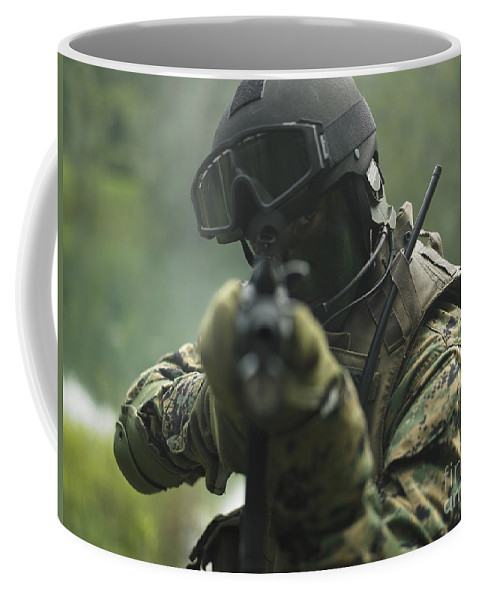 Special Operations Forces Coffee Mug featuring the photograph U.s. Marine During Combat Operations by Tom Weber