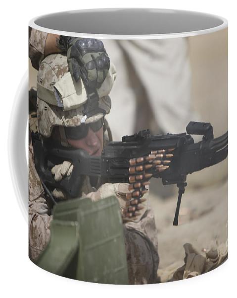 Sight Coffee Mug featuring the photograph U.s. Marine Firing A Pk 7.62mm Machine by Terry Moore