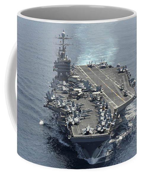 No People Coffee Mug featuring the photograph Uss Abraham Lincoln Transits The Indian by Stocktrek Images