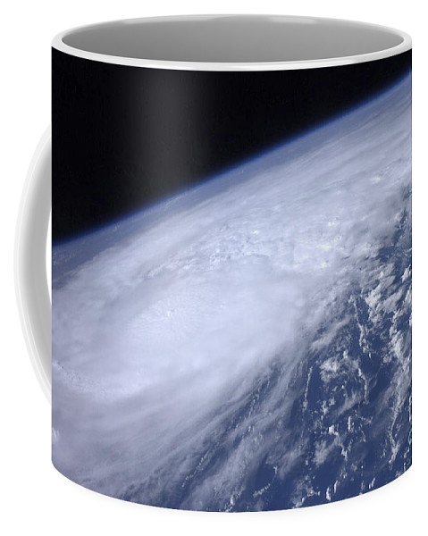 Cloud Coffee Mug featuring the photograph View From Space Of Hurricane Irene by Stocktrek Images