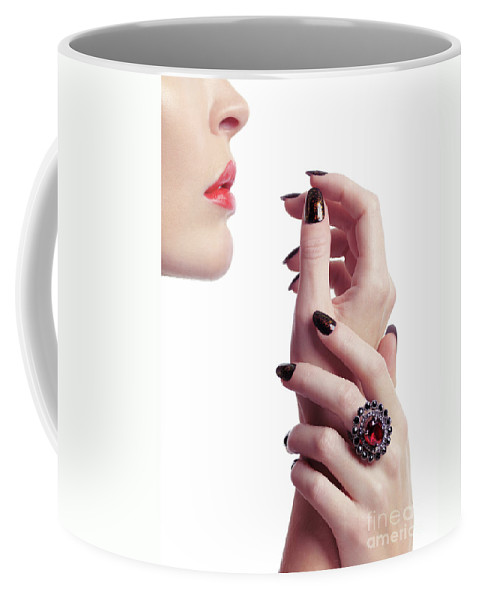 Jewelry Coffee Mug featuring the photograph Woman Hands And Lips by Oleksiy Maksymenko
