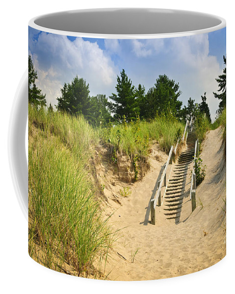 Beach Coffee Mug featuring the photograph Wooden Stairs Over Dunes At Beach by Elena Elisseeva