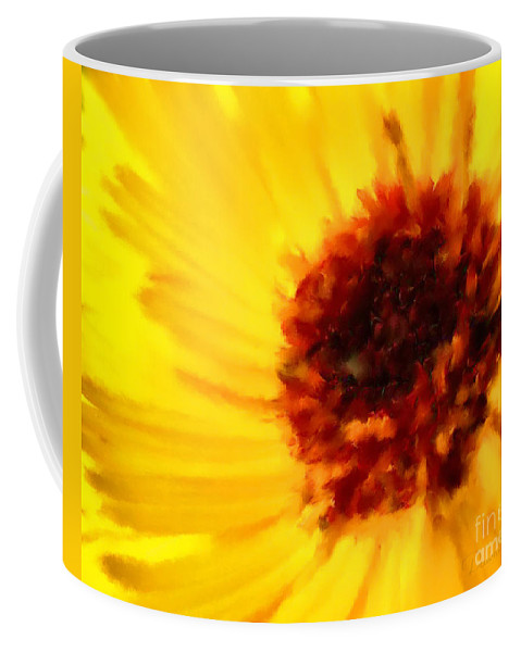 Flower Coffee Mug featuring the mixed media Yellow Floral 01 by Dawn Serkin