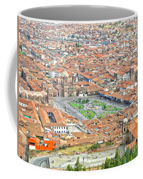 City Skyline Coffee Mug featuring the digital art Cusco Peru Street Scenes by Carol Ailles