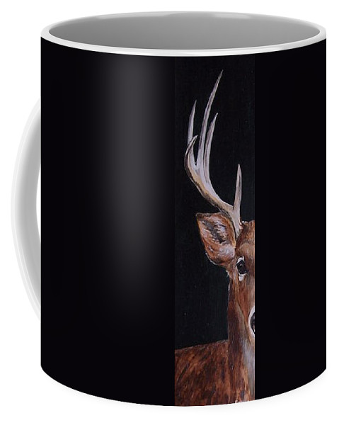 Buck Coffee Mug featuring the painting 10 Points by Kathy Laughlin