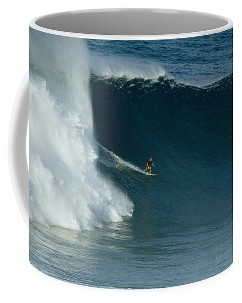 Sports Coffee Mug featuring the photograph A Surfer Rides A Powerful Wave by Patrick Mcfeeley