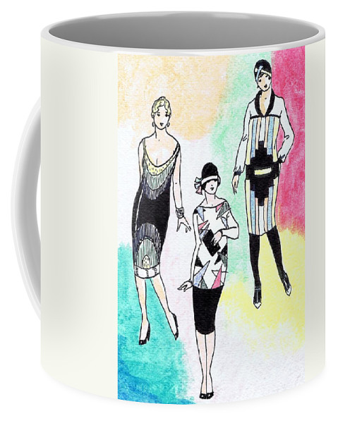 Nostalgia Coffee Mug featuring the drawing 1920s Gals 3 by Mel Thompson