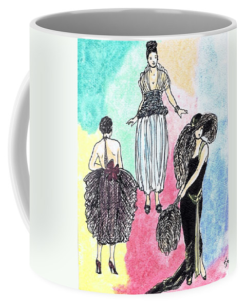 Nostalgia Coffee Mug featuring the drawing 1920s Gals 4 by Mel Thompson