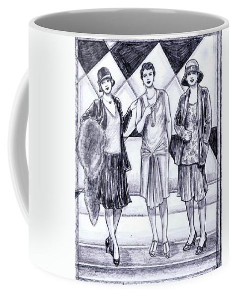 Nostalgia Coffee Mug featuring the drawing 1920s Styles by Mel Thompson