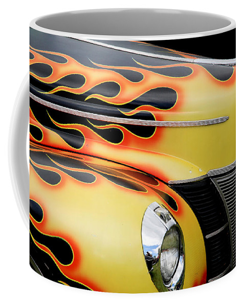 1940 Ford Coffee Mug featuring the photograph 1940 Flames by Steve McKinzie