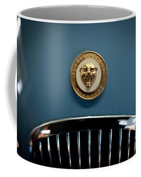 1952 Jaguar Xk120 Mark Vii Roadster Coffee Mug featuring the photograph 1952 Jaguar Hood Ornament by Sebastian Musial