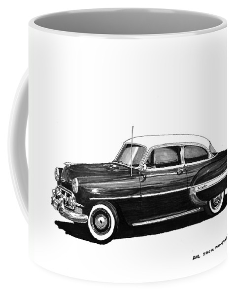 Framed Prints Of Pen And Ink Wash Paintings Of Cars From The 30s Coffee Mug featuring the painting 1953 Chevrolet Post 2 Dr Sedan by Jack Pumphrey
