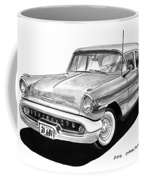 See This Artwork Of A 1957 Oldsmobile Super 88 By Jack Pumphrey At The 2017 Oldsmobile National Meets In Albuquerque Coffee Mug featuring the painting Oldsmobile Super 88 by Jack Pumphrey