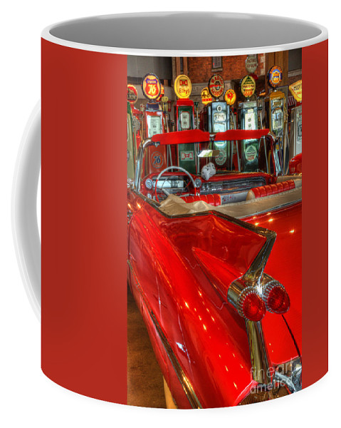 Cars Coffee Mug featuring the photograph 1959 Cadillac At The Pumps by Bob Christopher