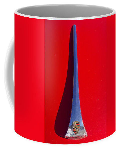 1963 Coffee Mug featuring the photograph 1963 Red Porsche Hood Emblem by James BO Insogna