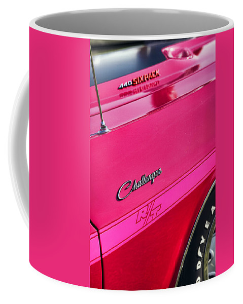 1970 Coffee Mug featuring the photograph 1970 Dodge Challenger Rt 440 Six Pack - Tickled Pink by Gordon Dean II