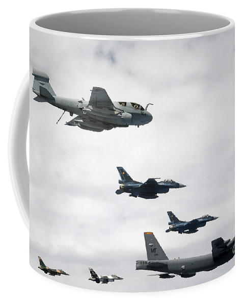 Andersen Air Force Base Coffee Mug featuring the photograph A B-52 Stratofortress Leads A Formation by Stocktrek Images