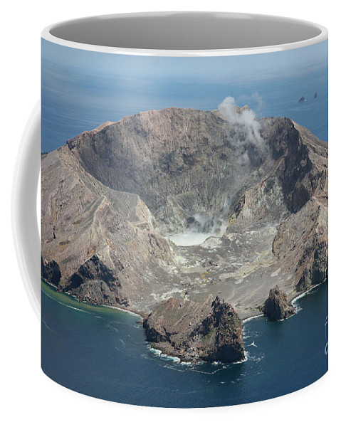 Volcanic Rocks Coffee Mug featuring the photograph Aerial View Of White Island Volcano by Richard Roscoe
