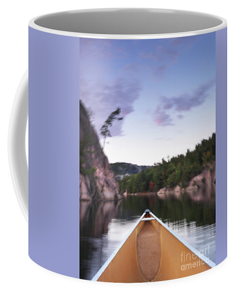 Canoe Coffee Mug featuring the photograph Canoeing In Ontario Provincial Park by Oleksiy Maksymenko
