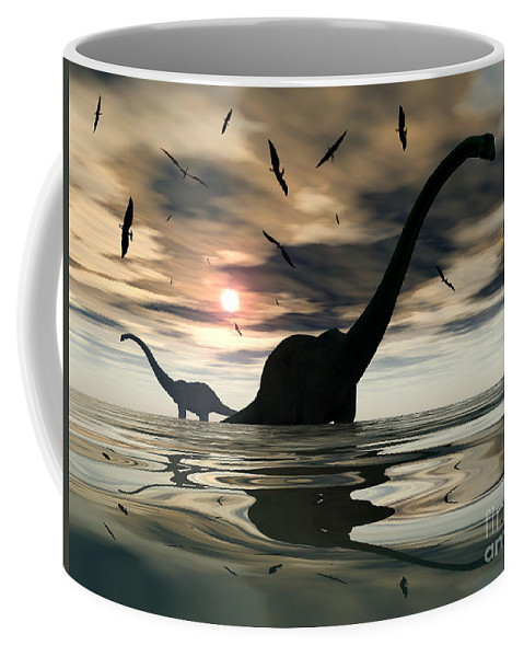 Digitally Generated Image Coffee Mug featuring the digital art Diplodocus Dinosaurs Bathe In A Large by Mark Stevenson