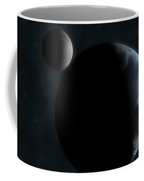 Horizontal Coffee Mug featuring the digital art Earth And The Moon by Carbon Lotus